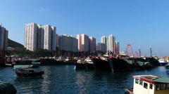 Hong Kong high-rise building Apartment Aberdeen harbor harbour China Asia - stock footage