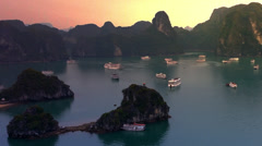 Stock Video Footage of Halong Bay in Vietnam near Hanoi city. Famous tourist travel destination HD