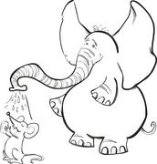 Stock Illustration of Mouse and Elephant for coloring book