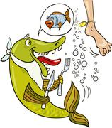 Mistake of hungry fish Stock Illustration