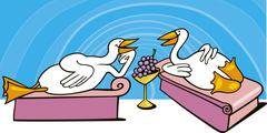 Geese in ancient rome on feast Stock Illustration