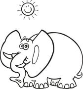 Stock Illustration of African elephant for coloring book