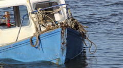 Sunk boat with messy ropes Stock Footage