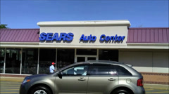Sears Auto Center storefront Stock Footage