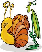 Snail and Grasshopper - stock illustration