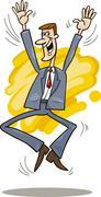 Stock Illustration of jumping Stockbroker