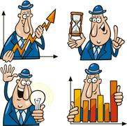 Stock Illustration of business cartoons with funny man