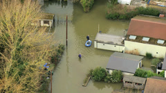 Widespread river floodwater, England, UK Stock Footage