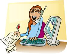 Stock Illustration of Happy Businesswoman working