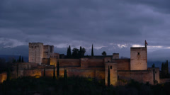 Stock Video Footage of The Alhambra at night