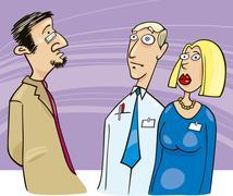 Boss talking to employees Stock Illustration