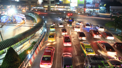 intersection crossroads traffic jam at night - stock footage