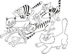 Stock Illustration of Running cats for coloring book