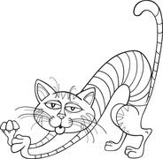 Cat stretching for coloring book - stock illustration