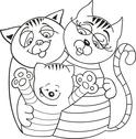 Stock Illustration of Cats family for coloring book