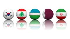 Stock Illustration of 3d rendering soccer balls with flag pattern, asian soccer qualifiers group a