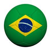 Brazil  flag pattern 3d rendering of a soccer ball Stock Illustration
