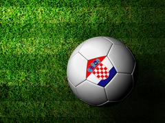 Stock Illustration of croatia flag pattern 3d rendering of a soccer ball in green grass