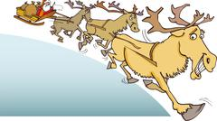 Santa Claus and reindeer - stock illustration
