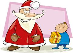 Stock Illustration of Santa claus with boy