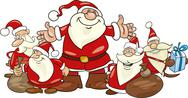 Stock Illustration of santa clauses group