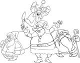 Stock Illustration of santa clauses group for coloring