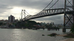 050 Florianopolis, Hercilio Luz bridge, skyline Stock Footage