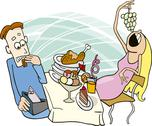 Stock Illustration of Gluttonous girl on date
