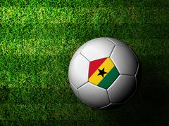 Stock Illustration of ghana flag pattern 3d rendering of a soccer ball in green grass