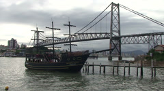 051 Florianopolis, Hercilio Luz bridge, skyline, old ship - stock footage