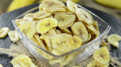 Dried banana chips (loopable video) Stock Footage