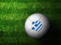Stock Illustration of greece flag pattern 3d rendering of a soccer ball in green grass