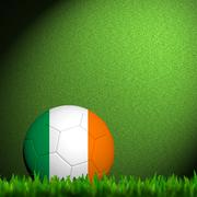 3d football ireland flag patter in green grass - stock illustration