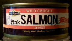 Rotating Can Wild Caught Salmon Close Up Stock Footage