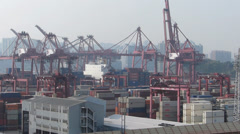 Time Lapse  Kwai Chung Container Port cranes moving cargoes Hong Kong to China Stock Footage