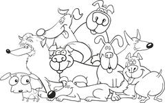 cartoon dogs group for coloring book - stock illustration