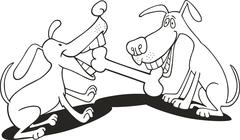 Stock Illustration of dogs playing with bone for coloring book