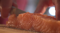 Cook salmon fillets food advertising Stock Footage