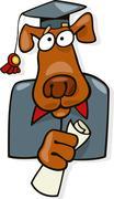 Graduate dog - stock illustration