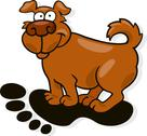 Stock Illustration of Dog in big human footprint