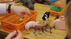 Plastic toy animals Stock Footage