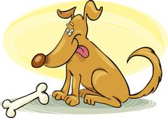 Happy Dog with Bone - stock illustration