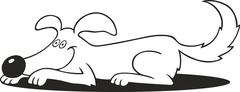 Stock Illustration of dog doing down trick for coloring book
