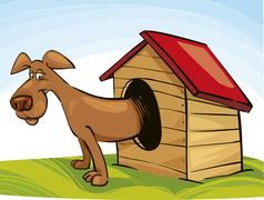 Dog in Doghouse - stock illustration