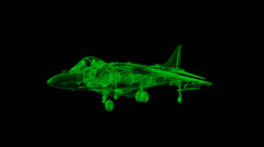 Harrier Wireframe Stock Footage