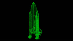 Space Shuttle Wireframe Stock Footage