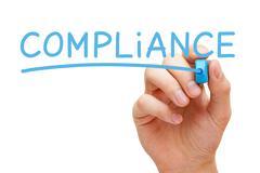 compliance blue marker - stock illustration