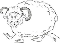 Stock Illustration of Funny ram for coloring book