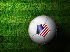 The united states  flag pattern 3d rendering of a soccer ball in green grass Stock Illustration