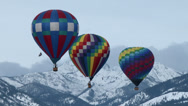 Hot Air Balloons, Mountains, Flying, Snow, Winter, 4K Stock Footage